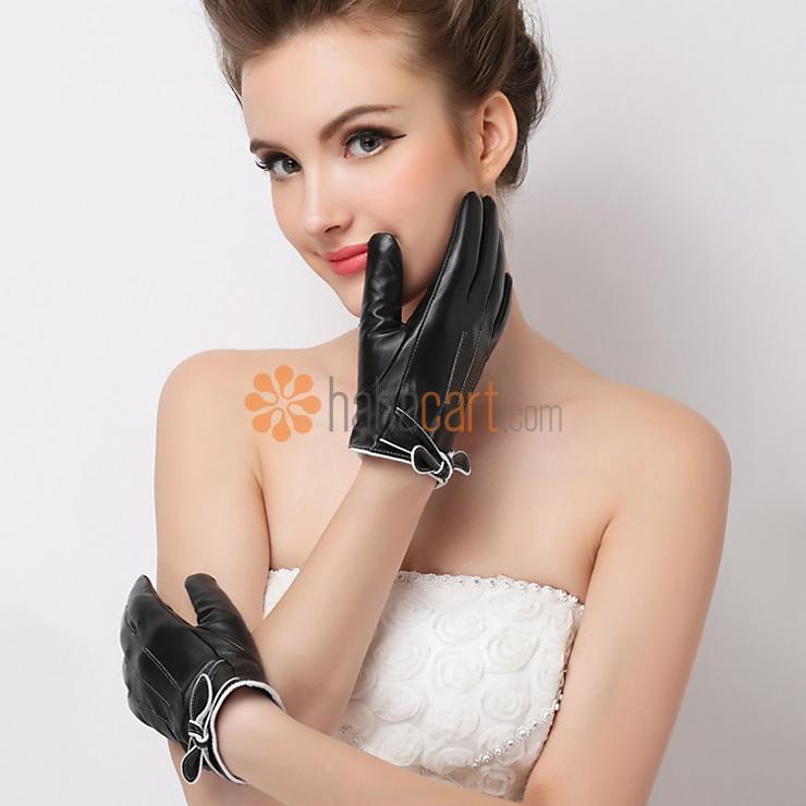 Guanti caldi della pelle di pecora per le donne, Guanti caldi dell'inverno