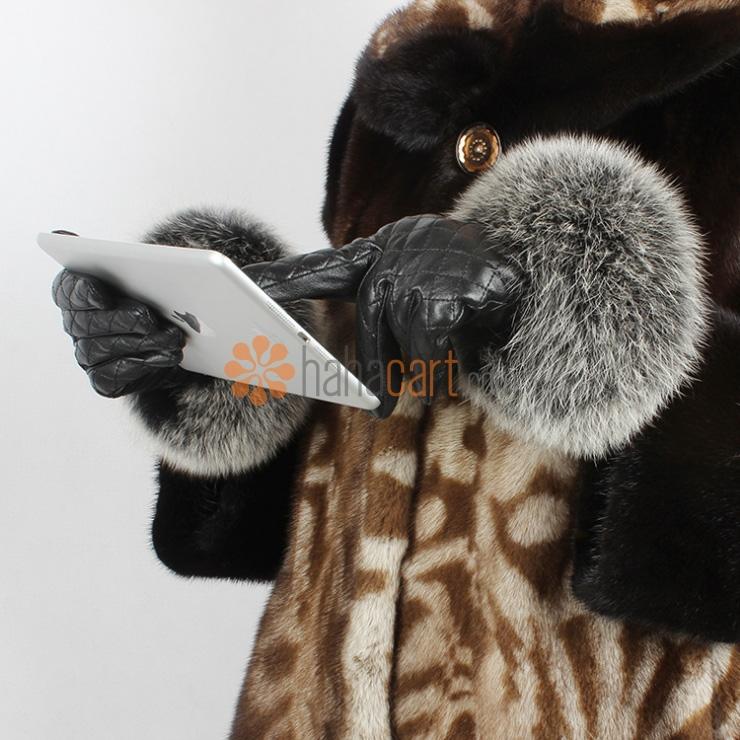 Guanti di schermo attivabile al tatto, Guanti di cuoio genuini per Donne, Materiale in Pelle di pecora e Pelliccia di volpe, Guanti caldi in inverno