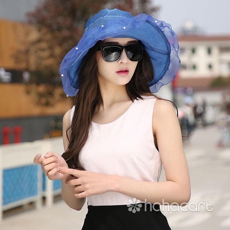 Pălărie de soare de modă pentru femei, Protecție UV, Pălărie cu boruri largi, Pălărie de plaja nisipoasa de vară