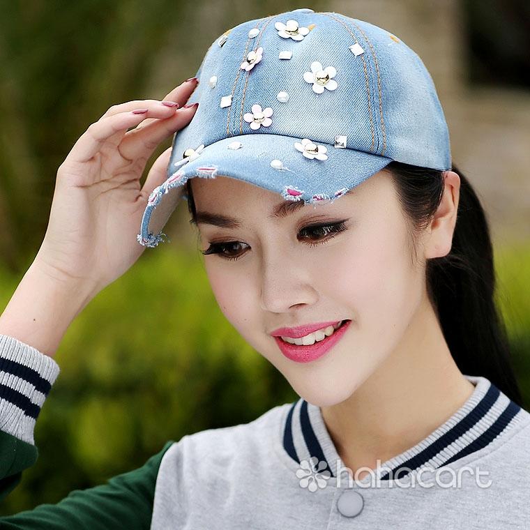 Șapcă de baseball pentru Femei, Material de denim, Stil retro