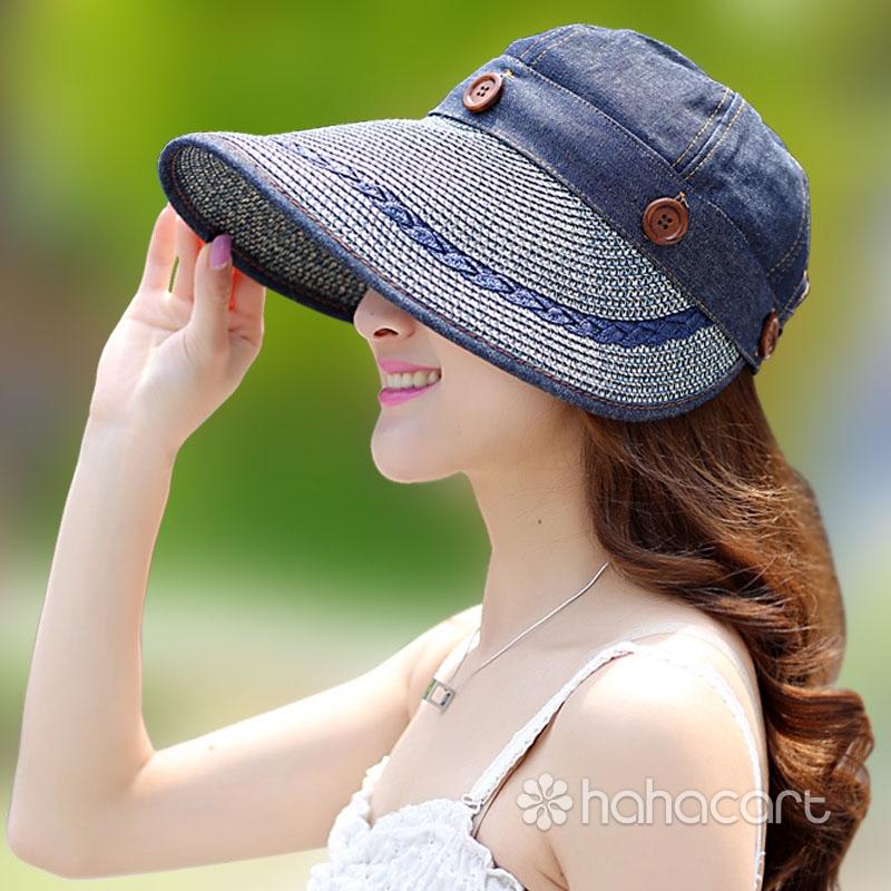 [ Top Amovibil ] Pălărie de paie / Pălărie de soare pentru femei [ Papirus naturale ] Pălărie cu boruri largi