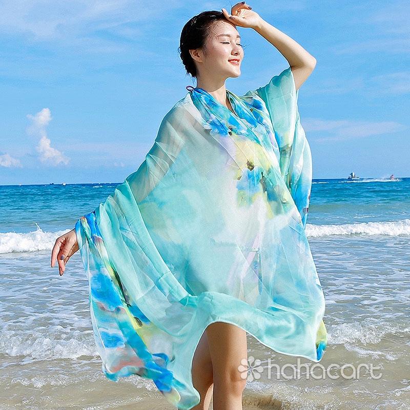 Sciarpa di seta [ 200*140cm ] Scialle di crema solare