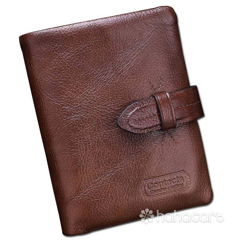 Portofel de piele originală pentru bărbați [ Stil de scurtă ] Materiale de piele de vițel