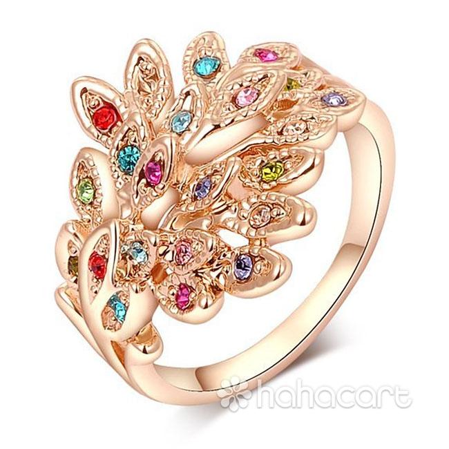 [ Pavone Colorato ] Anello delle donne, Materiale in lega e cristallo austriaco, Stile di diamanti imitazione