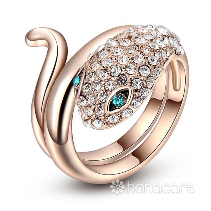 [ Cobra Di Oro Rosa ] Anello Donna, Anello delle donne, Materiale in lega e cristallo austriaco, Stile di diamanti imitazione