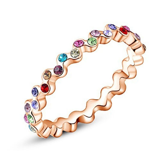 Accessori alla moda per Donne, Anello delle donne, Materiale in lega e cristallo austriaco, Stile di diamanti imitazione