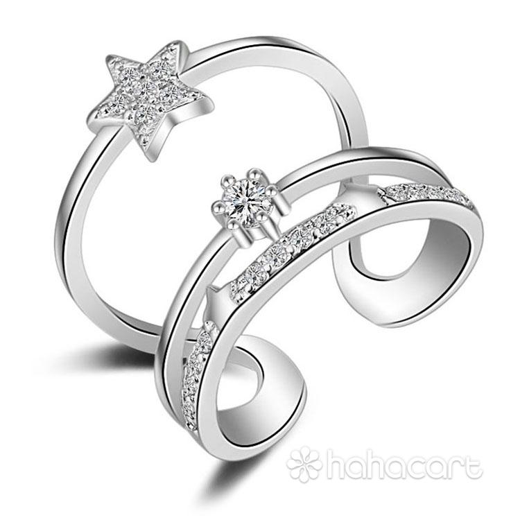 Zircon și Bijuterii de argint [ Desen 3-straturi ] Inel pentru femei
