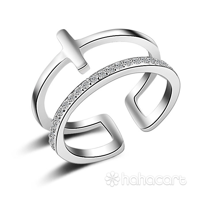 Gioielli d'argento e Zircone, Anello Donna [ Tipo di cerchio doppio ]