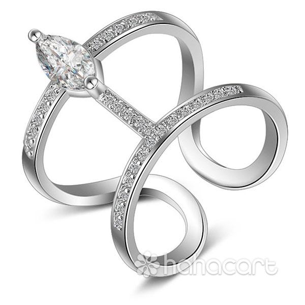Zircon și Bijuterii de argint [ Tip de cerc dublu ] Inel pentru femei
