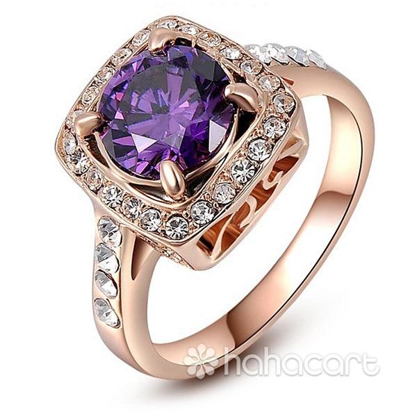Accessori alla moda per Donne, Anello delle donne, Materiale in lega e cristallo austriaco, Stile di diamante viola