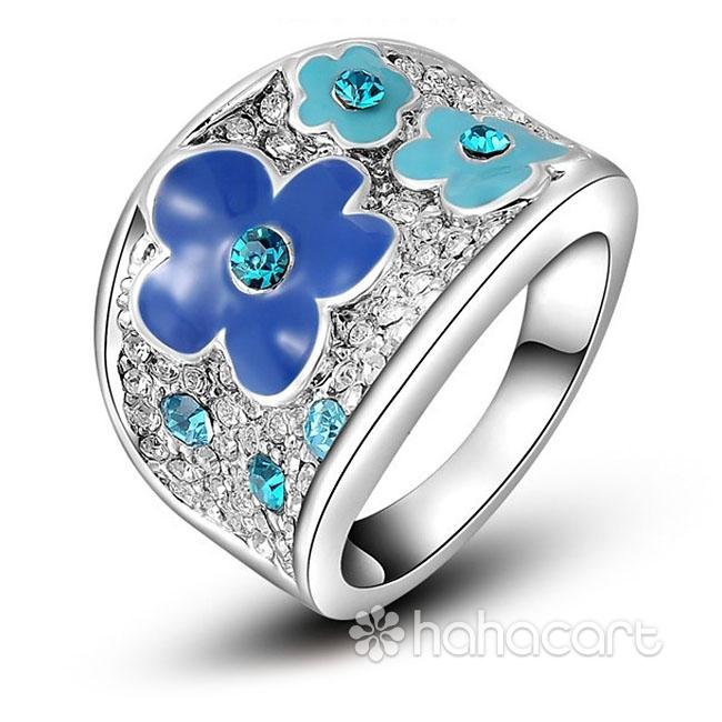 [ Fiore della prugna ] Anello Donna, Anello delle donne, Materiale in lega e cristallo austriaco, Stile di diamanti imitazione
