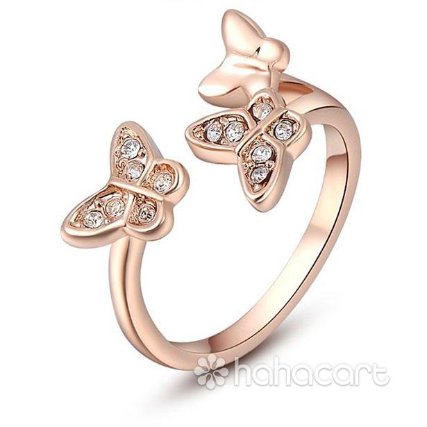 [ Farfalla ] Anello Donna, Anello delle donne, Materiale in lega e cristallo austriaco, Stile di diamanti imitazione