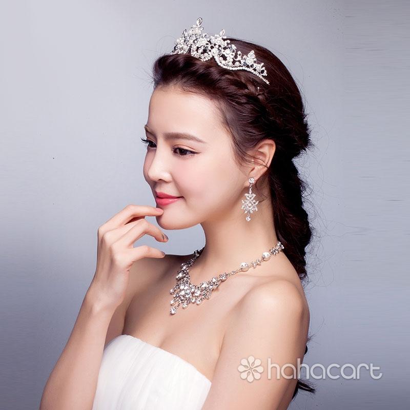 Accessori abito da sposa, Copricapo - Corona imperiale, Collana, Orecchini, Kit di monili di nozze