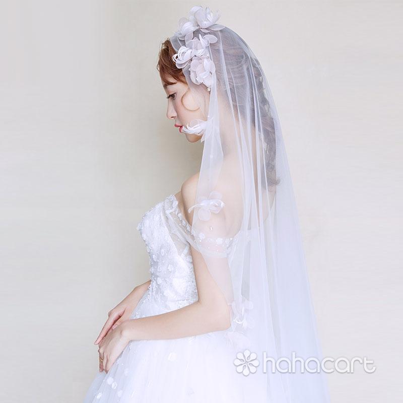 Accesorii pentru rochia de mireasa, Frizură pentru mireasa, Lungime voal 145cm