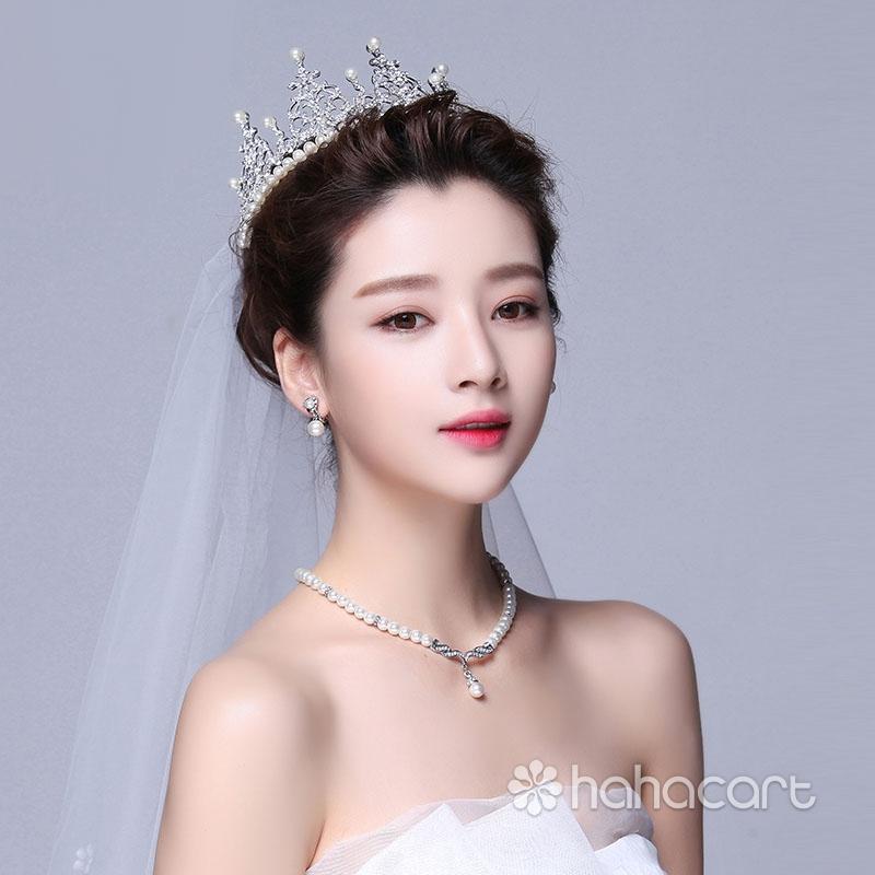 Accesorii pentru rochia de mireasa, Frizură - Coroana imperială, Colier, Cercei, Kit bijuterii de nunta