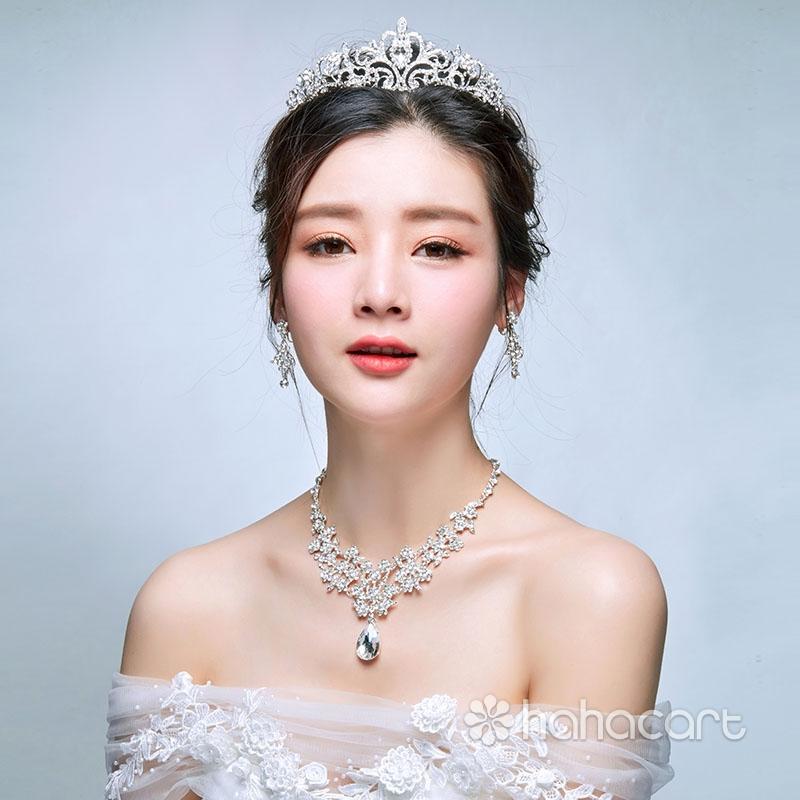 Svadbeno odijelo pribor, Nakit na glavi - Carska kruna, Ogrlica, Naušnice, Vjenčanje nakit komplet