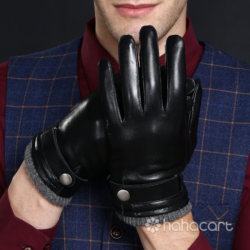 Touchscreen Function Thickened Velvet Lining Warm Gloves Sheepskin Driving Cycling Gloves