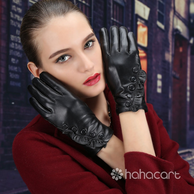 Touchscreen Gloves Sheepskin Thickened Velvet Lining Warm Driving Gloves
