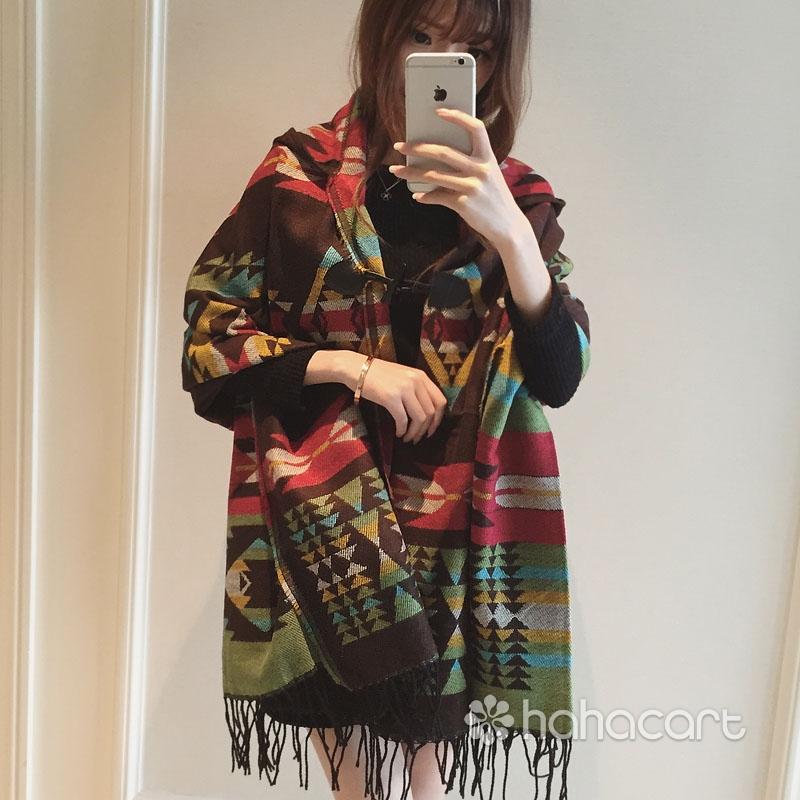 Scialle delle Donne [ 180x85cm ] Mantello Cappotto Felpa con cappuccio