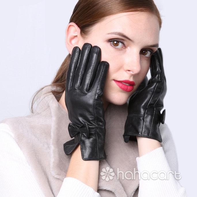 Guanti caldi d'inverno, Fodera in velluto, Guanti di pelle di pecora per Donne