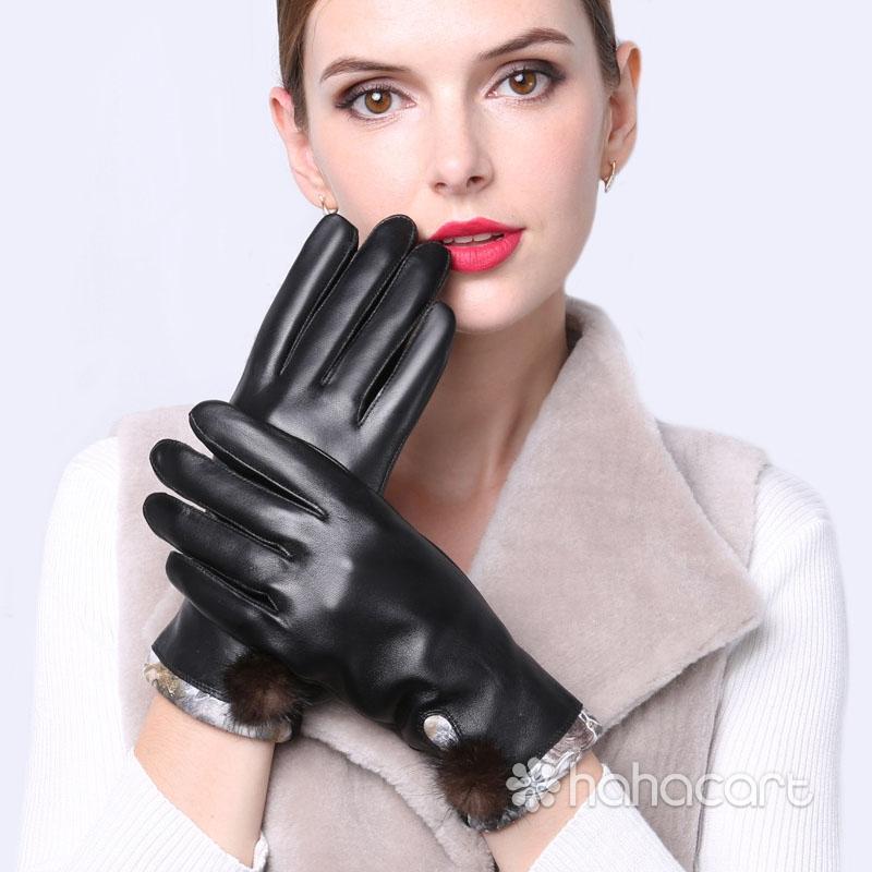 Mănuși de cald în timpul iernii, Căptușeală de catifea, Funcția de ecran tactil, Mănuși din piele de oaie pentru Femei