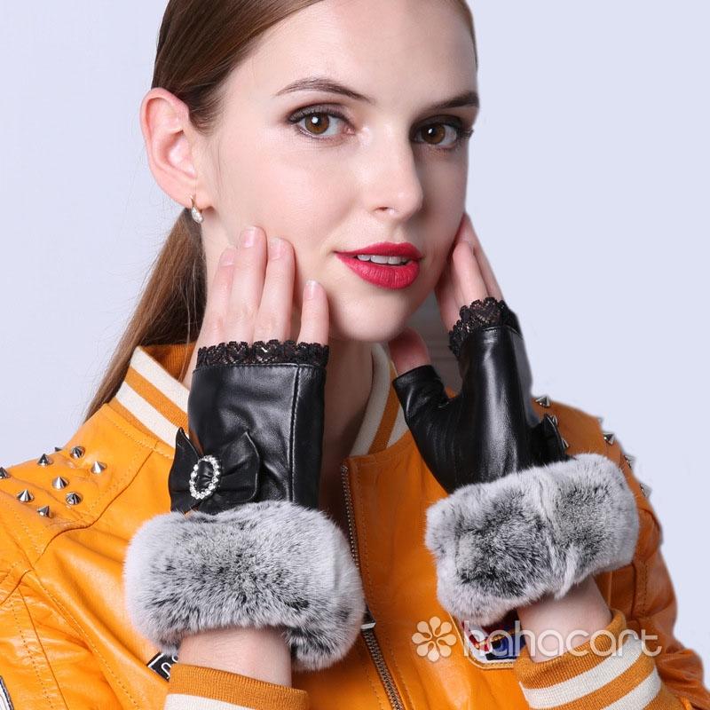 Rukavice Bez Prstiju, Krzna od Zec Kose, Ovčija Koža Rukavice