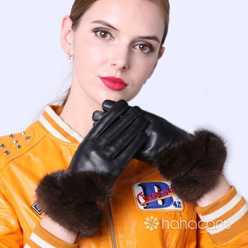 Mănuși de cald în timpul iernii, Blănuri de nurca, Funcția de ecran tactil, Mănuși din piele de oaie