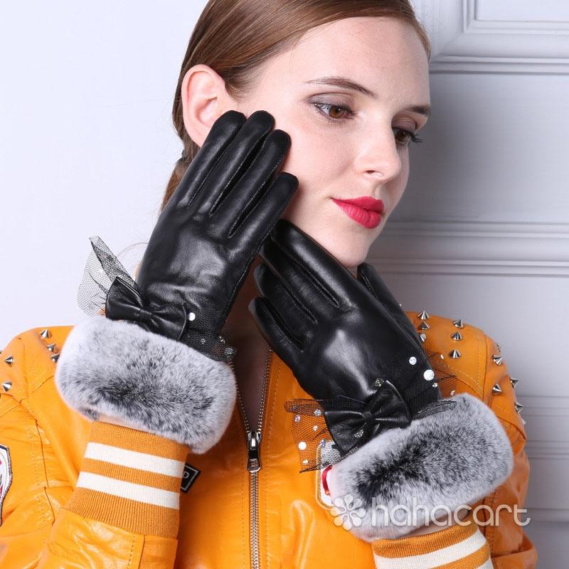 Zimske Tople Rukavice, Krzna od Zec Kose, Funkcija Ekran Na Dodir, Ovčija Koža Rukavice