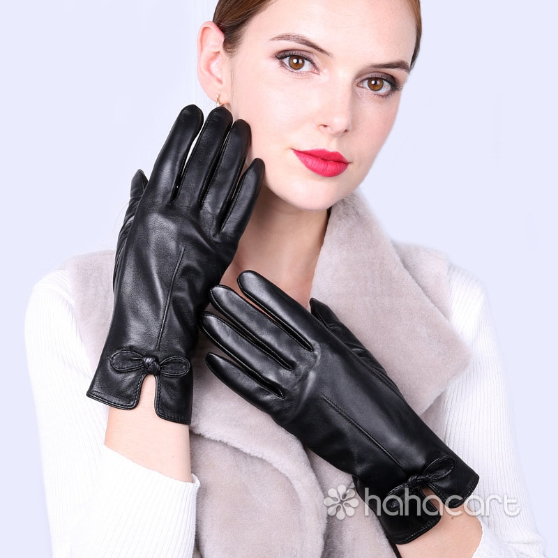 Guanti caldi d'inverno, Fodera in velluto, Funzione dello schermo di tocco, Guanti di pelle di pecora per Donne