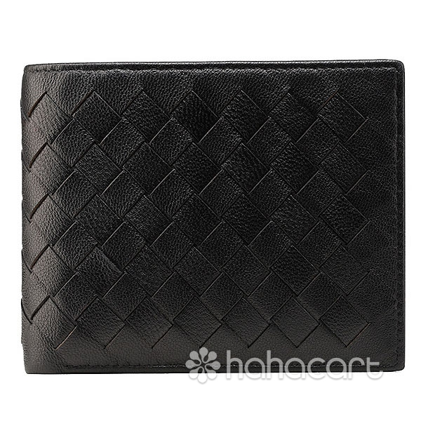 Genuine Leather Twofold Men's Wallet Short Style and Weaving Sheepskin Material