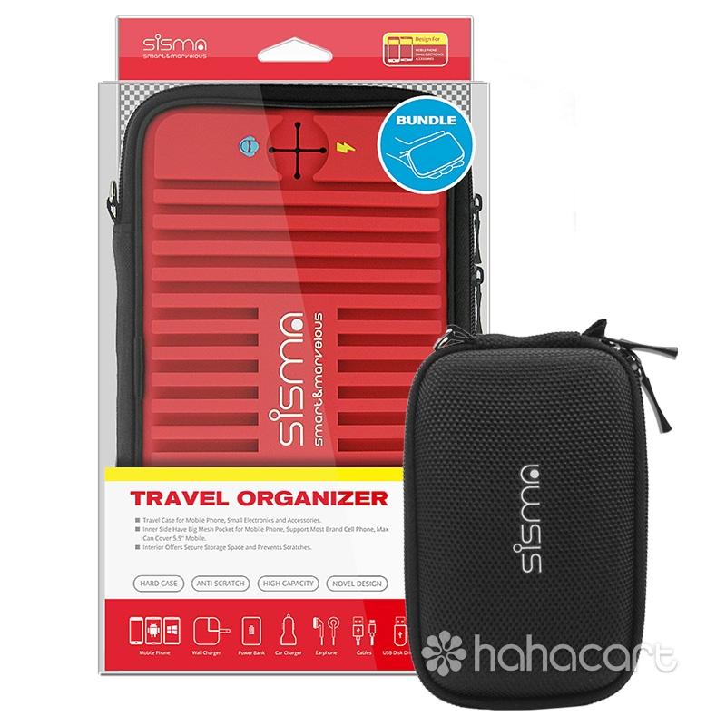 sisma ® Universel Elektronik Taske Rejsearrangør 2 stk. Sæt til Elektronik og Tilbehør -Rød -Bundt med Lille Taske SCB16128S-R